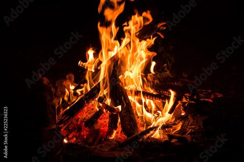 Hot coals in the fire, bonfire flame Fototapeta