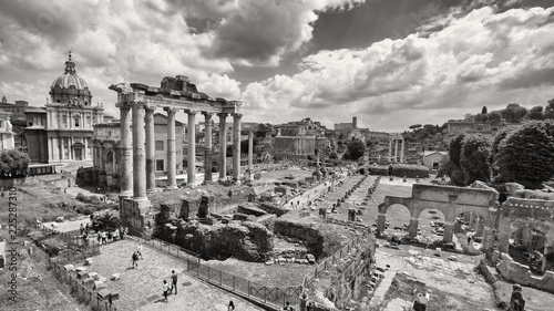 Black and white photo of Roman Forum in Rome, Italy