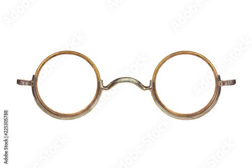 Vintage circular eyeglasses isolated on white