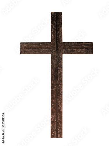 Fototapeta Old rustic wooden cross isolated on white background