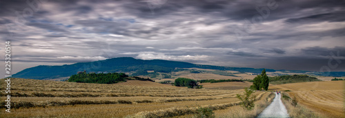 The road to Santiago under the clouds in Navarre Fototapeta
