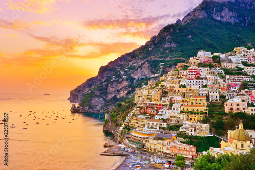 Canvas Print View of Positano village along Amalfi Coast in Italy at sunset.