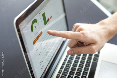 Accounting on a laptop, close-up of screen with hand