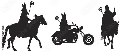 Fotografia Heilige Nikolaus, Sinterklaas on the horse and bikers' bike vector silhouettes,