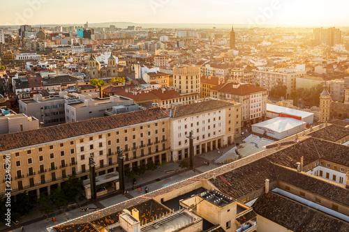 Sunset view of Zaragoza, Spain, from one of the towers of the Pilar Basilica