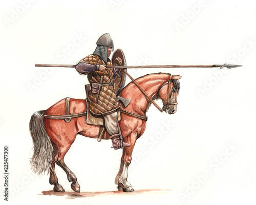 Canvastavla Medieval mounted knight