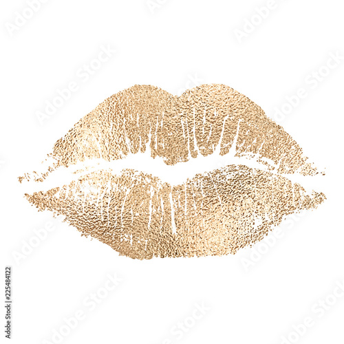 Fotografia Vector lip imprint with golden texture isolated on white background