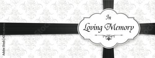Canvastavla Loving Memory Obituary Emblem Black Ribbon Header