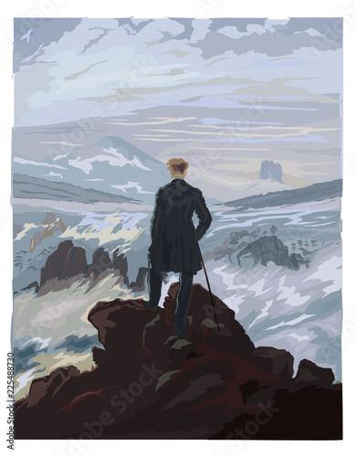 Vászonkép Caspar Friedrich, le Voyageur contemplant une mer de nuages