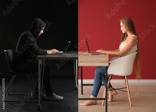 Young woman having online date with fake boyfriend Fotobehang
