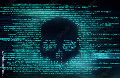 Ransomware And Code Hacking Background Fototapeta