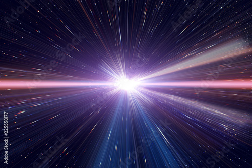 Fototapeta Light speed travel time warp traveling in outer space galaxy.