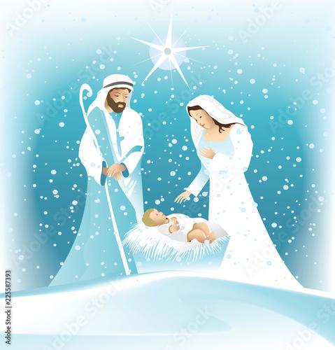 Obraz na plátne Nativity scene with Holy Family