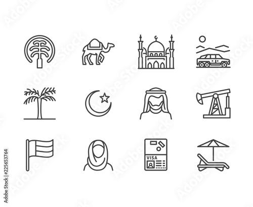 Fototapeta premium Ikony płaskiej linii ZEA. Flaga emiratów arabskich, Dubaj, meczet islamu, pustynny samochód terenowy, muzułmanie, wielbłąd, ilustracje wektorowe oleju. Cienkie tabliczki dla biura podróży. Doskonały piksel 64x64.