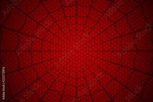 Spider web. Cobweb on Red background. Vector illustration Fototapeta