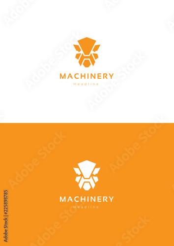 Photo Robot machinery logo template.