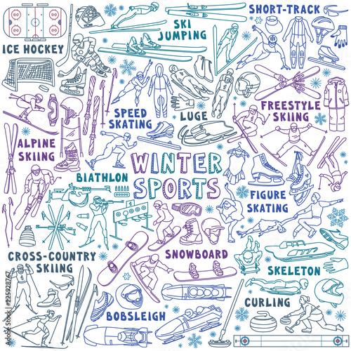 Photo Winter sports doodle set