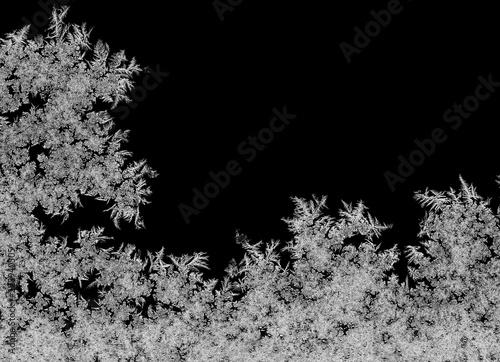 Natural ice crystals frostwork on dark backround. Macro closeup.