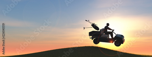Golf player with golf cart giving a jump 3d illustration
