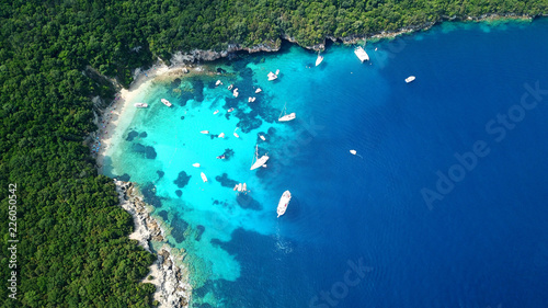 Obraz na plátně Aerial drone bird's eye view photo of iconic paradise sandy beach of blue lagoon