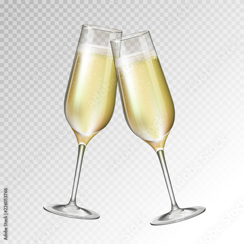 Wallpaper Mural Realistic vector illustration of champagne glass isolated on transperent backgro