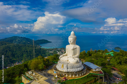 Stampa su Tela areial view white cloud in blue sky at Phuket big Buddha