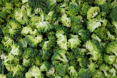 Abstract background of fresh, raw calabrese broccoli florets