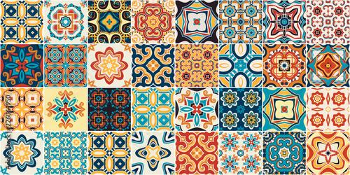 Fototapeta Traditional ornate portuguese decorative tiles azulejos.