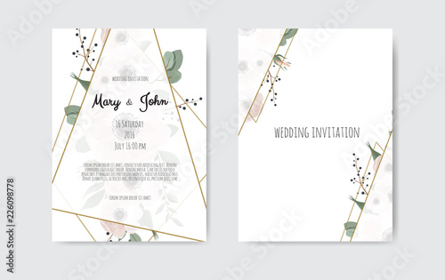 Fotomural Botanical wedding invitation card template design, white and pink flowers