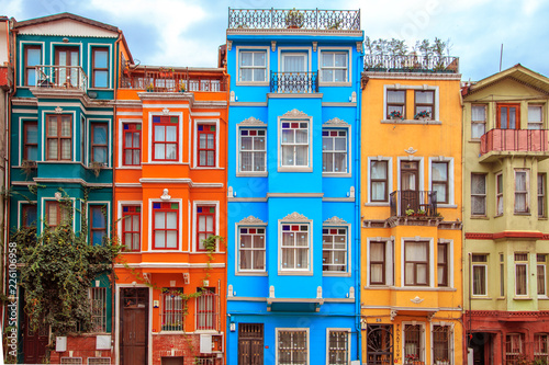 Photo Colorful houses of the Balat district, Istanbul, Turkey.