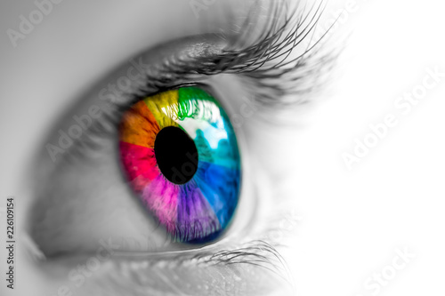 Fotografie, Tablou Eye With Rainbow Colors
