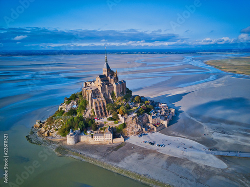 Wallpaper Mural Top view of the Mont Saint Michel Bay, Normandy France
