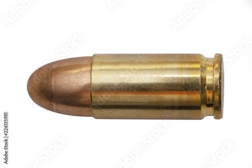 Fotografie, Obraz isolated 9mm bullet on white background
