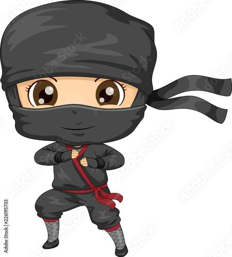 Fototapeta Kid Boy Ninja Costume Illustration