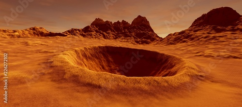 Canvas-taulu Extremely detailed and realistic high resolution 3D illustration of a big crater