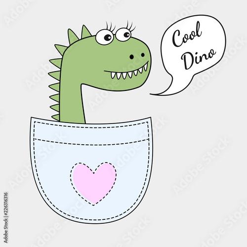 Śliczna chłodno Dino dziewczyna w kieszeni odizolowywającej na białym tle. Słodka dziecięca grafika na koszulki. Kartka z życzeniami. Ilustracji wektorowych.