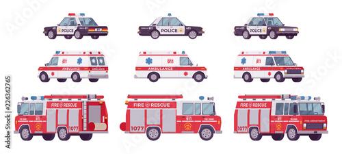 Fotografia Police car, ambulance, fire truck set