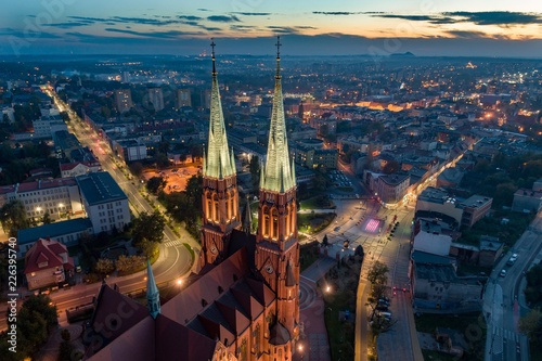 Fotografie, Obraz Aerial drone view on Basilica and city center in Rybnik.