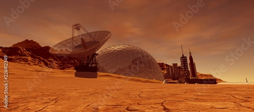 Fotografia, Obraz Extremely detailed and realistic high resolution 3d illustration of a colony on mars like planet
