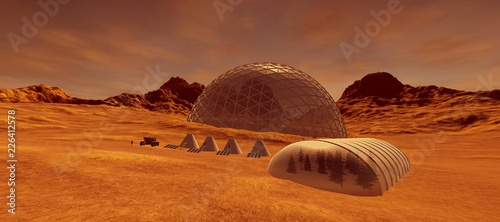 Canvas Print Extremely detailed and realistic high resolution 3d illustration of a colony on mars like planet