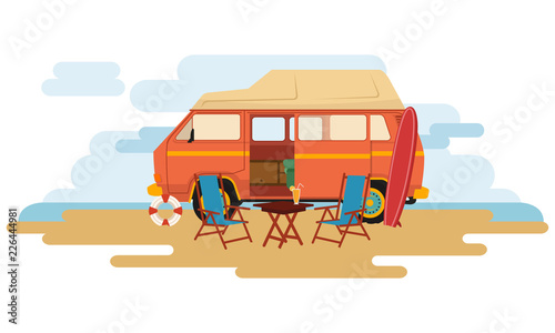 Canvas Camper Van caravan sit on the park with chair