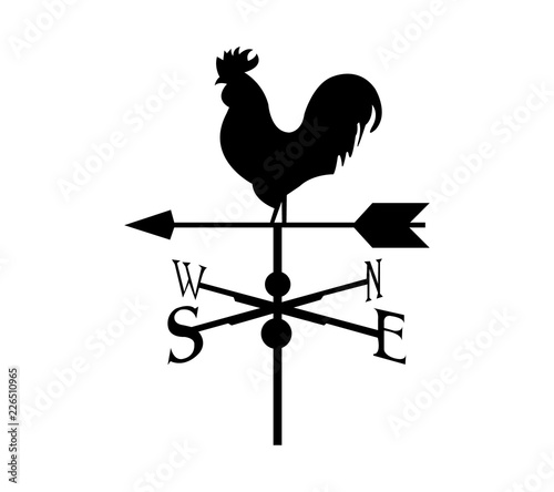 Fotografia Black rooster compass, isolated on white