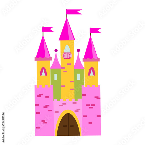 Fairy tale castle with turrets. Princess pink palace. Vector illustration for children, kids tales