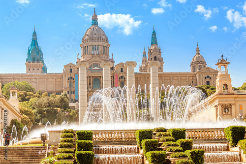 National Art Museum and motjuic fountain in Barcelona at sunny summer day