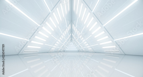 Foto mural Abstract Triangle Spaceship corridor. Futuristic tunnel with light. Future interior background, business, sci-fi science concept. 3d rendering