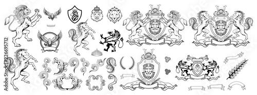 Fototapeta premium heraldyka, herb lub herb heraldyczny, elementy heraldyczne do projektowania, grawerowanie, styl vintage retro, heraldyka godło zwierząt, logo zwierząt, grafika wektorowa do zaprojektowania