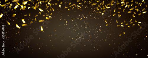 Leinwand Poster goldkonfetti regen panorama hintergrund