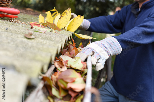 Leaves in eaves. cleaning gutter blocked with autumn leaves.