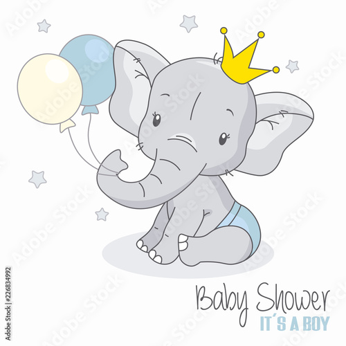 Fototapeta premium baby shower boy. Śliczny słoń z balonami.