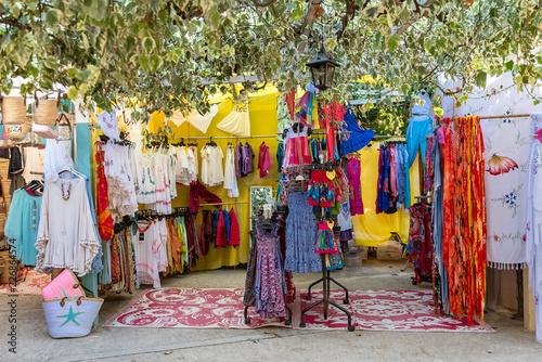 Ibiza island, Spain, the hippie market, clothes